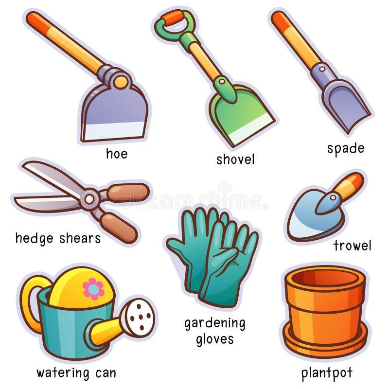 庭院从事园艺的春天工具 向量例证