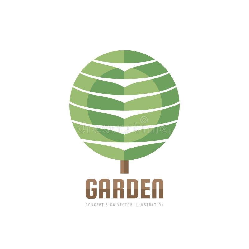 庭院-概念企业商标模板传染媒介例证 抽象树创造性的标志,绿色自然标志 设计图象 库存例证