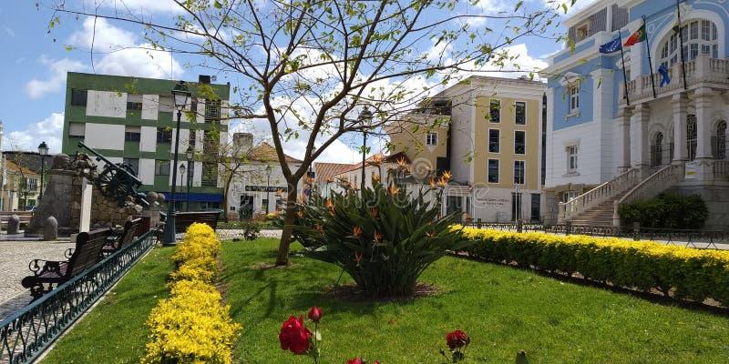 庭院ib城镇厅洛雷斯,葡萄牙 库存图片