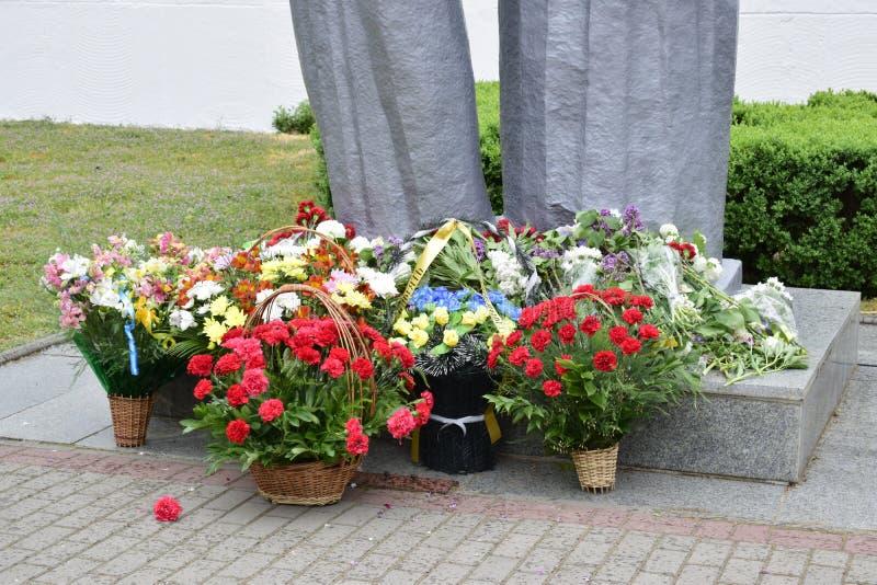 康乃馨的花,放置在永恒火焰以记念战士, 库存图片