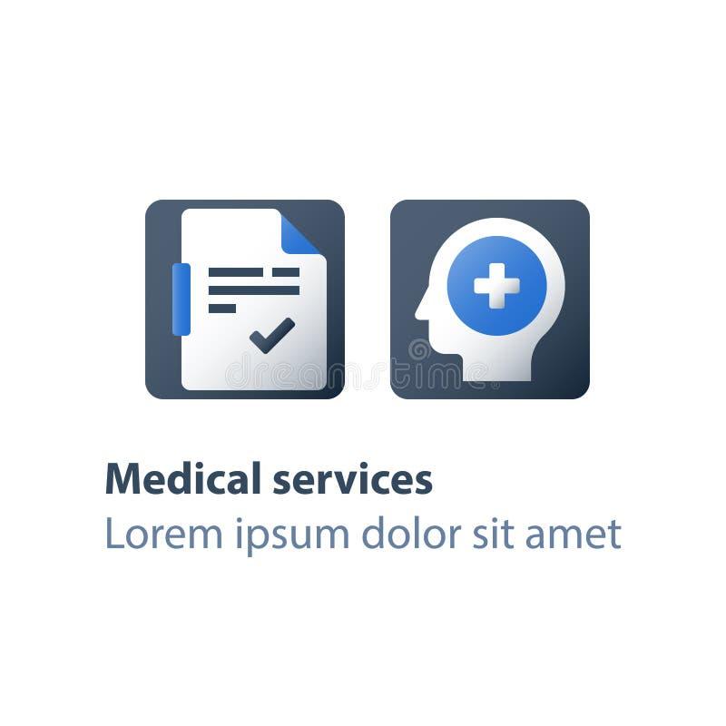 康复计划、顶头问题、脑疾病、精神错乱、精神病学和精神疗法,身体检查,身体检查  库存例证