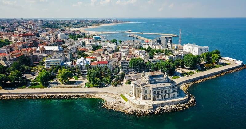 康斯坦察市空中寄生虫视图黑海的 免版税库存图片