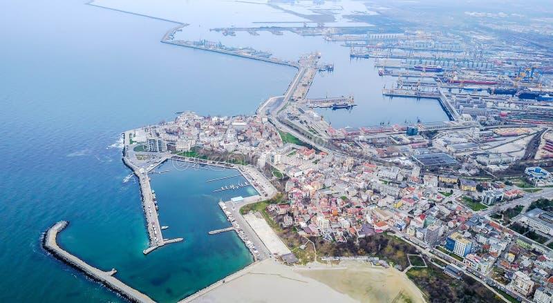 康斯坦察,罗马尼亚,黑海海岸,鸟瞰图 免版税库存照片