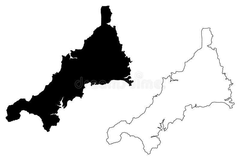 康沃尔郡地图传染媒介 皇族释放例证