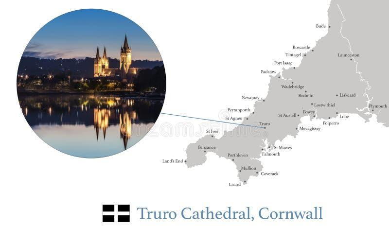 康沃尔郡地图,以特鲁罗大教堂为特色的摄影图象在微明期间,与反射在河和主要城镇 库存例证