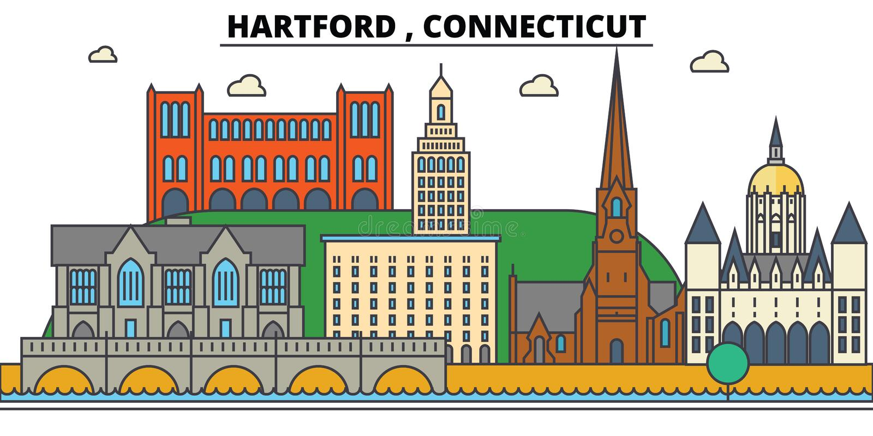 康涅狄格哈特福德 城市地平线建筑学 皇族释放例证