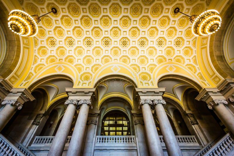 康涅狄格州立图书馆的内部,在哈特福德 免版税库存图片