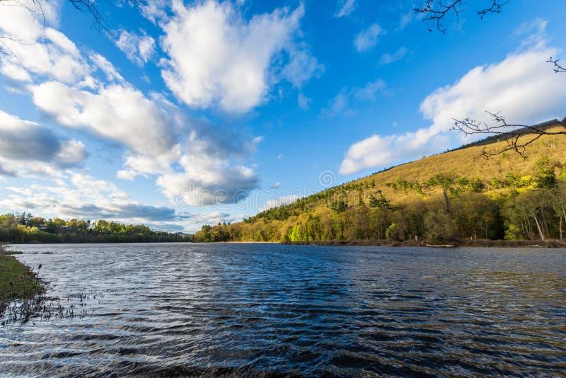 康涅狄格河的看法从Brattleboro佛蒙特状态林的 库存照片