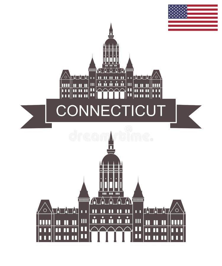 康涅狄格状态 康涅狄格状态国会大厦在哈特福德 向量例证