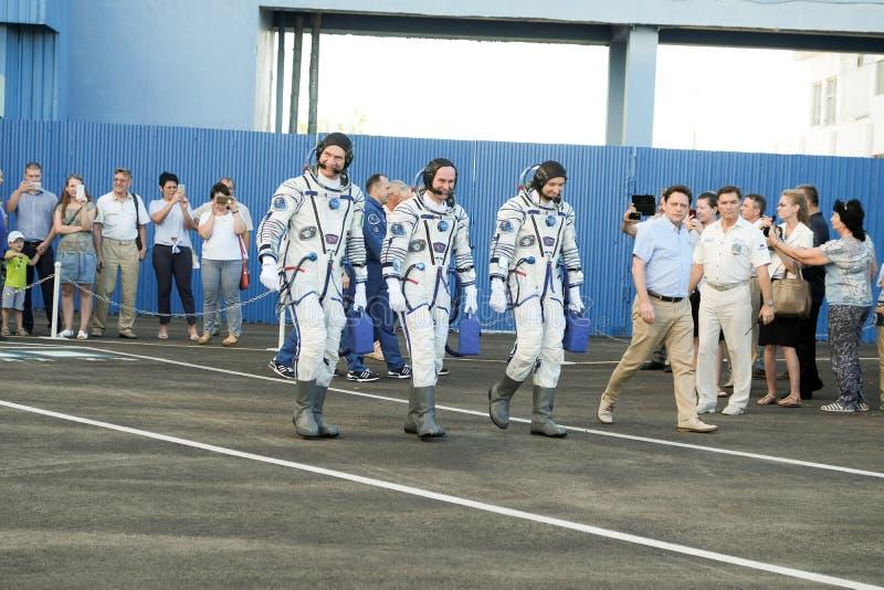 贝康诺,哈萨克斯坦-莒勒石, 28 :真正的宇航员,宇航员派遣到在俄国太空火箭的ISS 伦道夫 免版税库存照片