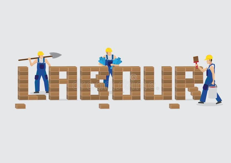 建立与砖动画片传染媒介Illustra的工作者词劳方 库存例证