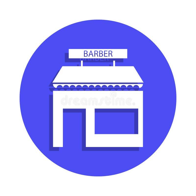建立前面象的理发店在徽章样式 一理发师汇集象可以为UI, UX使用 库存例证