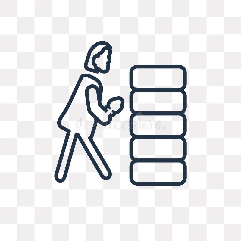 建立墙壁传染媒介象的妇女隔绝在透明backgr 库存例证