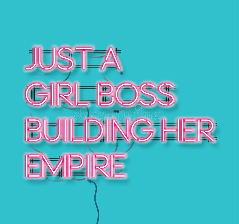 建立她的帝国桃红色霓虹签约雇用蓝色backg的女孩上司 向量例证