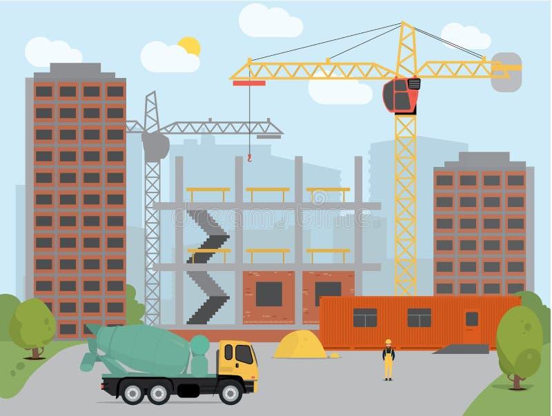 建立房子传染媒介例证背景的处理建筑的概念 库存例证