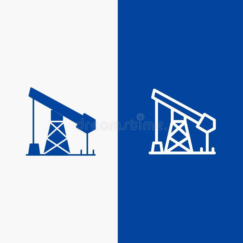 建筑、产业、油、排气管和纵的沟纹坚实象蓝色旗和纵的沟纹坚实象蓝色横幅 库存例证