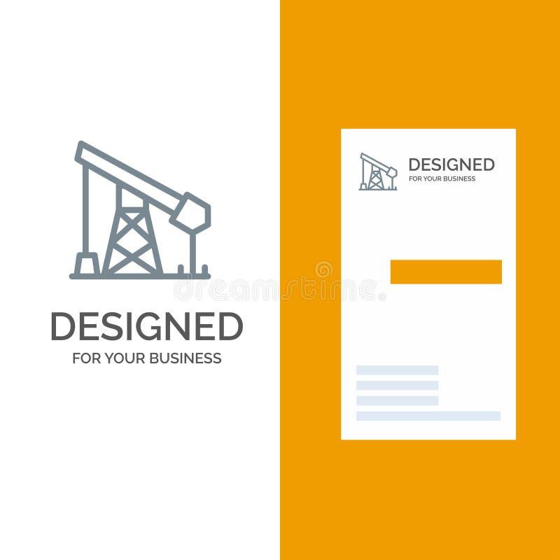 建筑、产业、石油、气体灰色商标设计和名片模板 向量例证