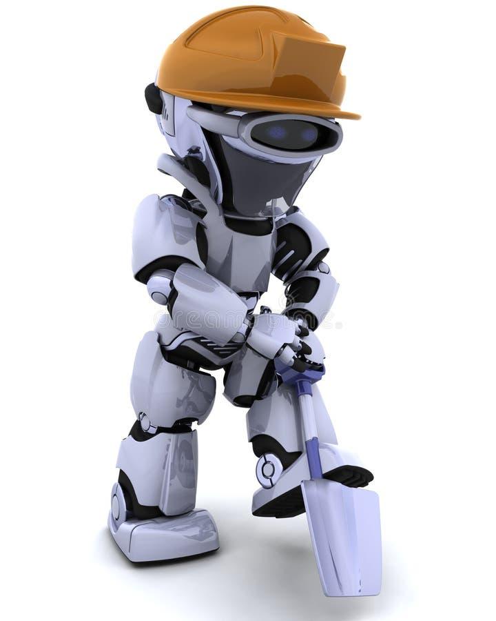 建筑上用的机器人锹 向量例证