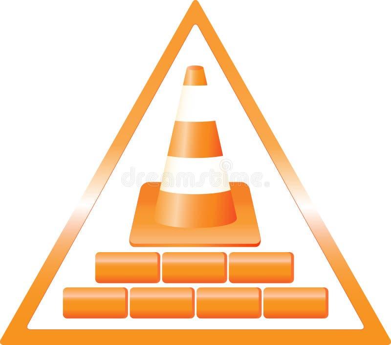 建筑与砖的危险符号 库存例证