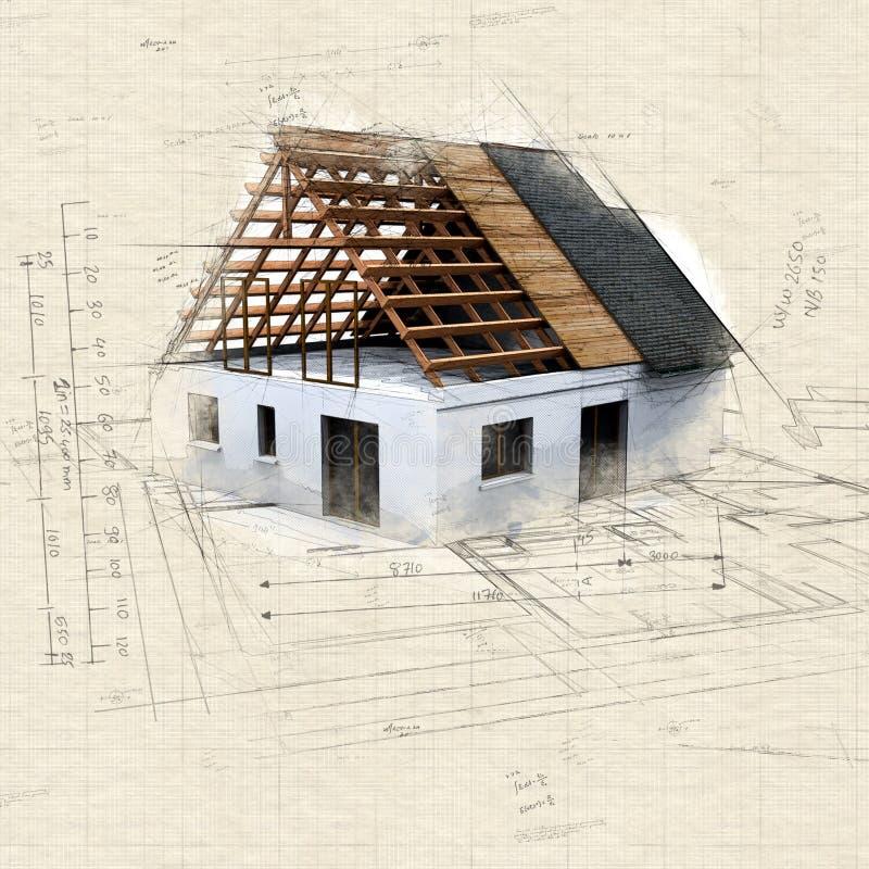 建筑和图纸的2议院 向量例证