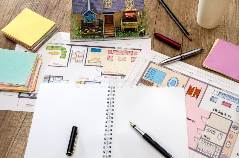 建筑图画,房子的布局 免版税库存图片