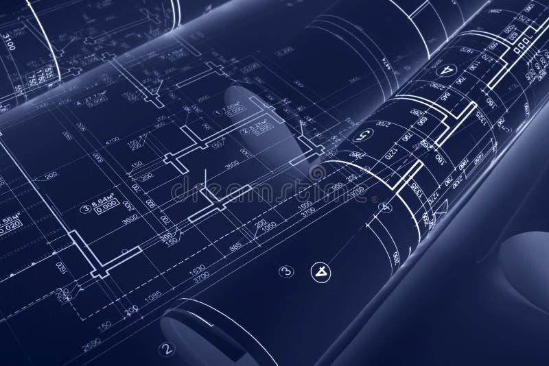 建筑图纸卷和技术图画在书桌上  库存例证