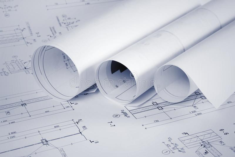 建筑图纸和计划卷 免版税库存图片