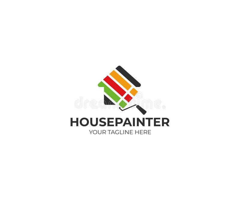 建筑壁画商标模板 议院和路辗刷子传染媒介设计 向量例证