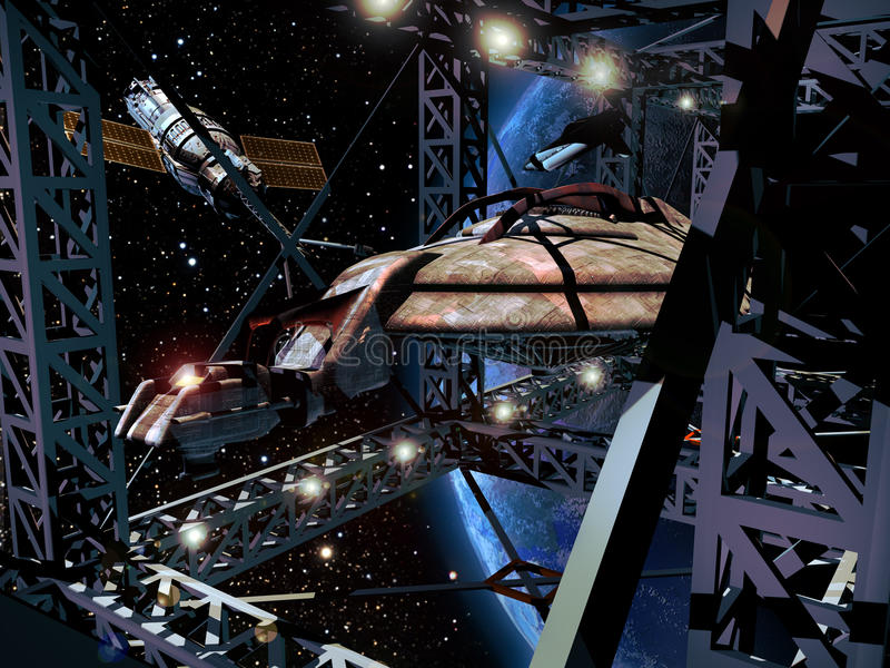 建筑太空飞船 向量例证