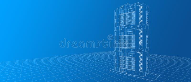 建筑学外部门面大厦设计观念3d透视白色导线框架翻译梯度蓝色背景 库存例证