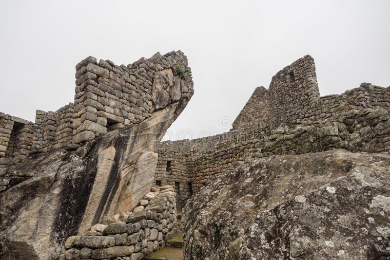建筑学的细节在马丘比丘,库斯科省印加人废墟的  免版税库存图片