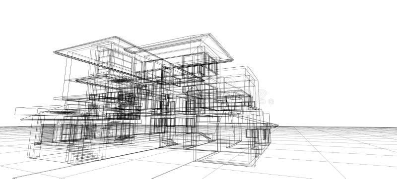 建筑学设计观念3d透视导线框架五颜六色的翻译隔绝了抽象背景或wa的白色背景 向量例证