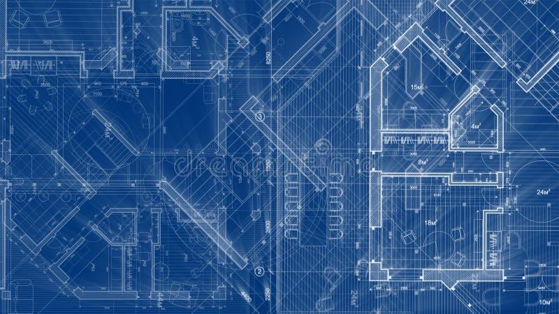 建筑学设计:图纸抽象房子计划 库存例证