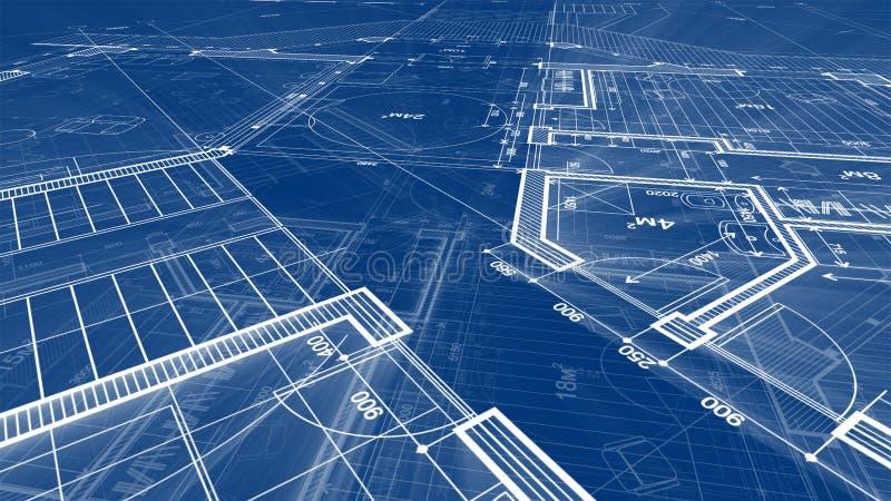 建筑学设计:图纸抽象房子计划 向量例证