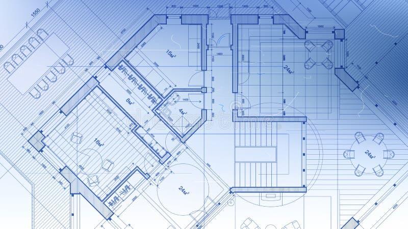建筑学设计:图纸计划-导航p的例证 库存例证