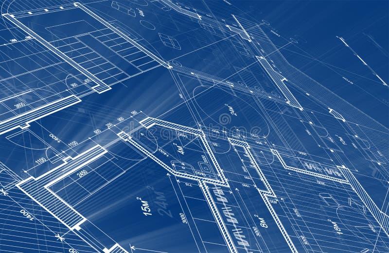 建筑学设计:图纸计划-计划的例证 库存照片