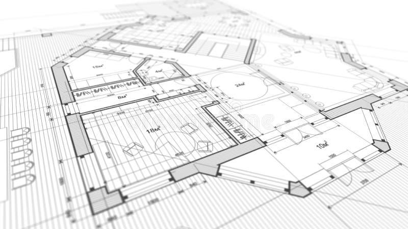 建筑学设计:图纸计划-计划mod的例证 库存照片