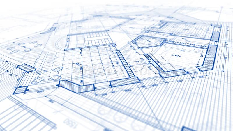 建筑学设计:图纸计划-计划mod的例证 库存图片
