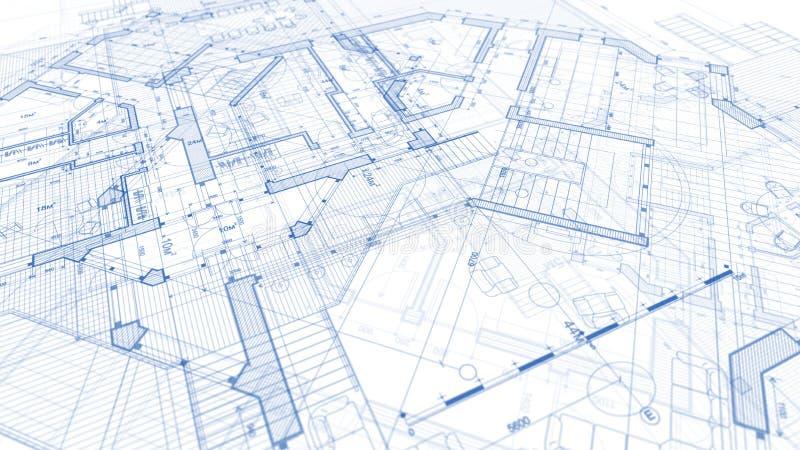 建筑学设计:图纸计划-计划mod的例证 免版税库存照片