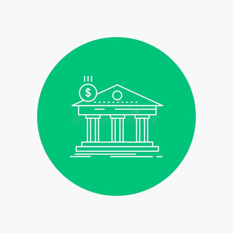 建筑学,银行,银行业务,大厦,联邦空白线路象在圈子背景中 r 皇族释放例证