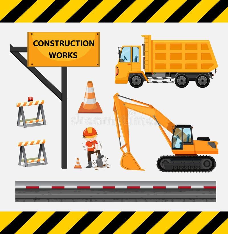 建筑工人和卡车在站点 向量例证