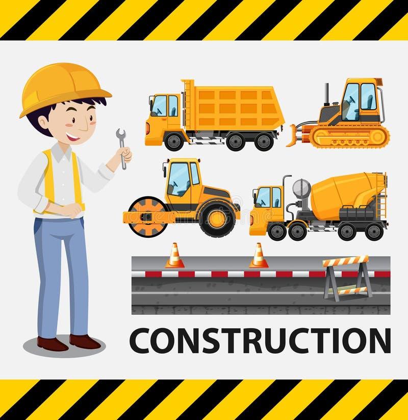 建筑工人和建筑卡车 皇族释放例证