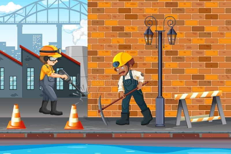 建筑工人在镇里 向量例证