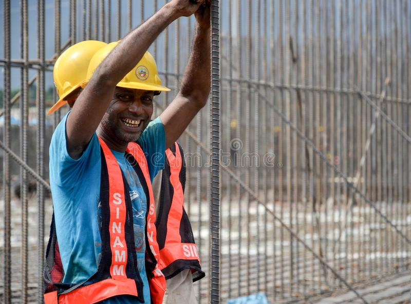 建筑工人笑 免版税库存照片