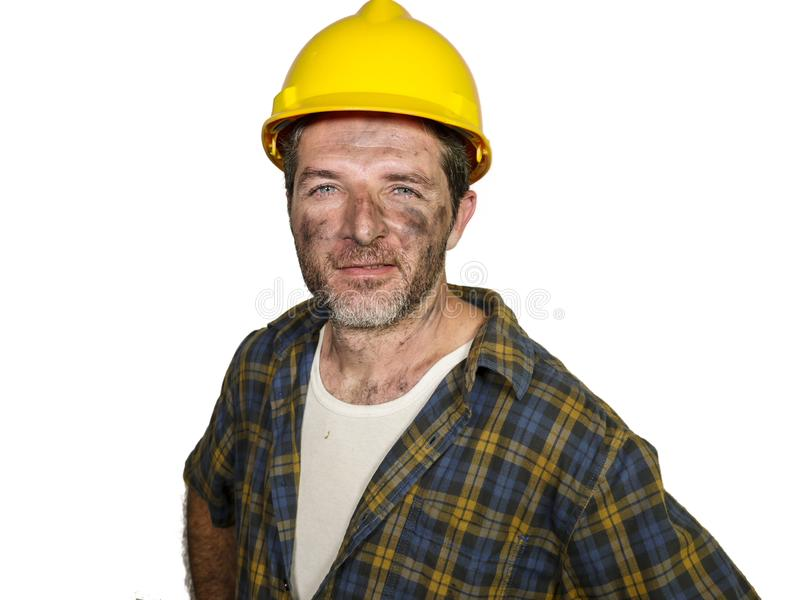 建筑工人-可爱和愉快的建造者人公司画象安全帽微笑的确信如成功 图库摄影
