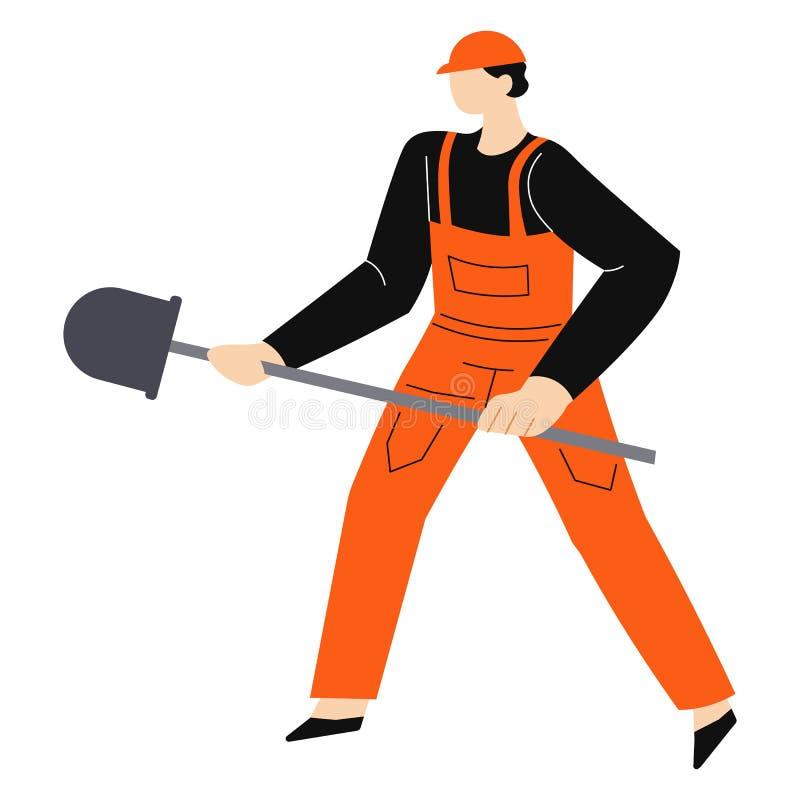 建筑工作和大厦,安全帽的工作者开掘与锹的 库存例证