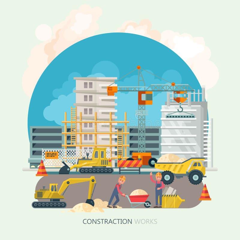 建筑工作 导航平的五颜六色的套与五颜六色的大厦工具的例证 在现代样式的大厦海报 皇族释放例证