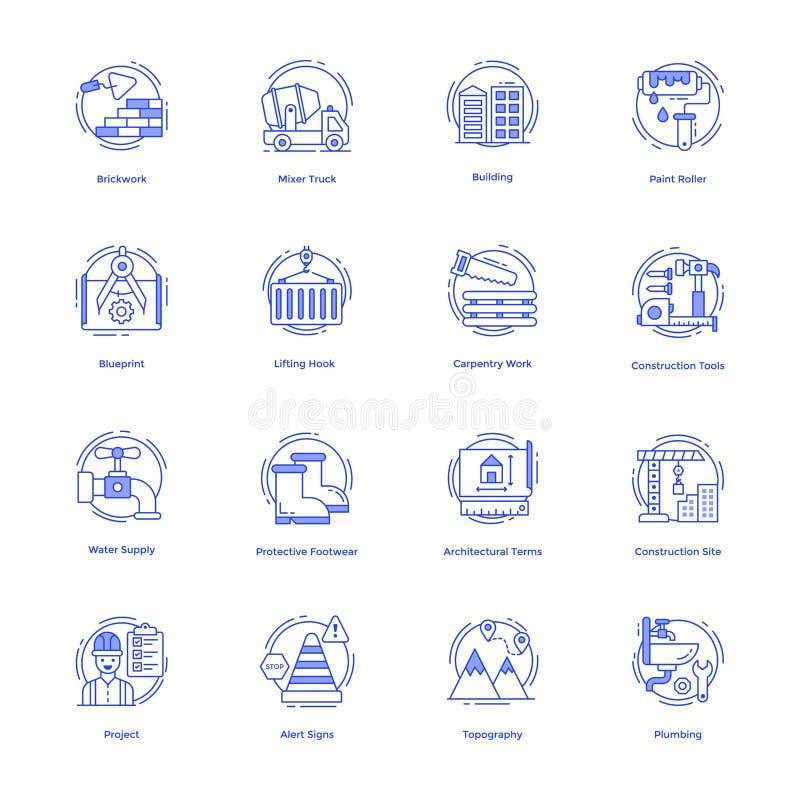 建筑工具导航集合 库存例证