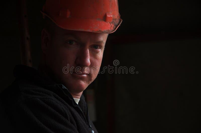 建筑工头纵向工作者 免版税图库摄影