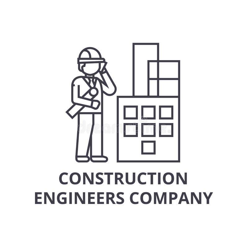 建筑工程师公司传染媒介线象,标志,在背景,编辑可能的冲程的例证 库存例证